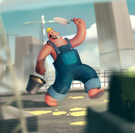 Funny pracownika na żółto majster budowy wieżowca trumny