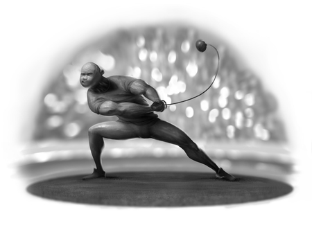 hammer thrower in the competition at the stadium under the flashes of photo viewers Stock Photo