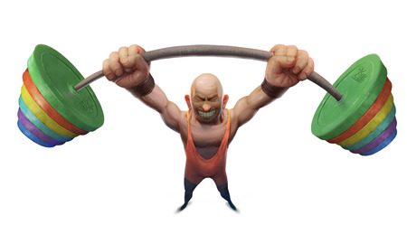 competitions: weightlifter Illustration competitions takes a huge weight maximum load