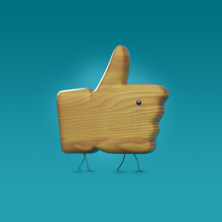 wooden 3D like icon with legs and an eye, icon character, like object