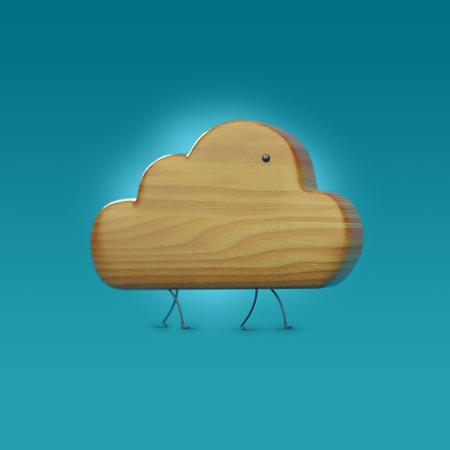 wooden 3D cloud icon with legs and an eye, cloud character, cloud icon, cloud object
