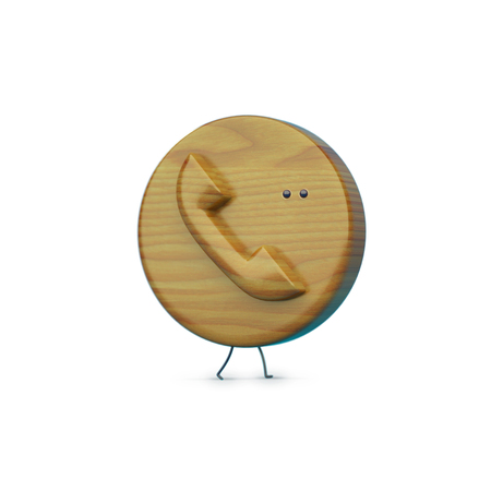 bulk memory: wooden 3D phone icon with legs and an eye, phone character, phone icon, phone object, round icon