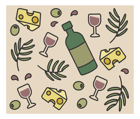 dinner party table: set of vector icons, bottle of wine, olives, cheese, Illustration