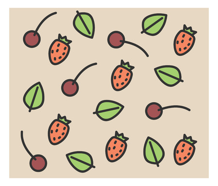 dinner party table: set of vector icons: strawberry, cherry nice decor Illustration