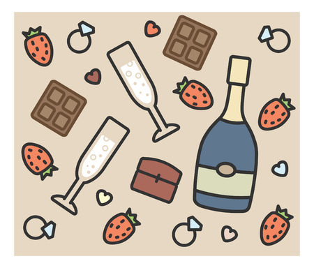 dinner party table: set of vector icons: engagement, champagne, chocolate, strawberry ring glasses decor