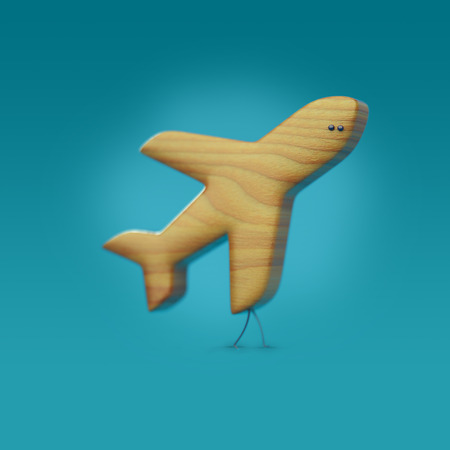 3D icon plane, plane character with legs and eyes, wooden texture, aviamode Stock Photo