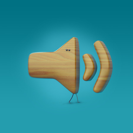 loudness: 3D icon loudspeaker, character with legs and eyes, wooden texture