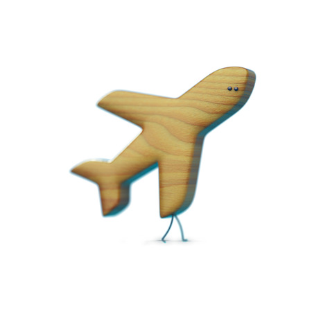 advertizing: 3D icon plane, plane character with legs and eyes, wooden texture, aviamode Stock Photo