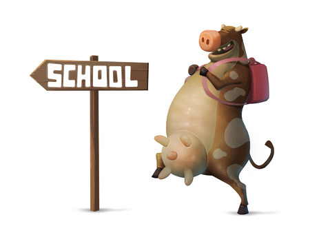 illustration a funny cow character with a backpack going to school