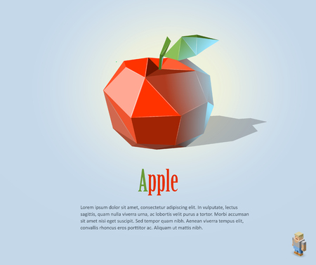 PrintVector illustration of polygonal red apple with leaf, modern icon, fruit object