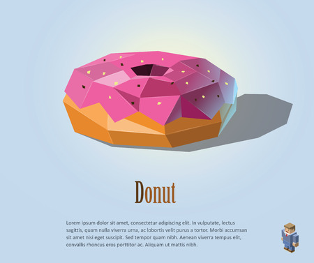 Vector polygonal illustration of Donut with pink cream on top, food icon design