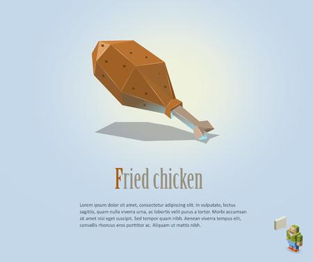 fattening: PrintVector polygonal illustration of fried chicken leg, modern food icon, low poly