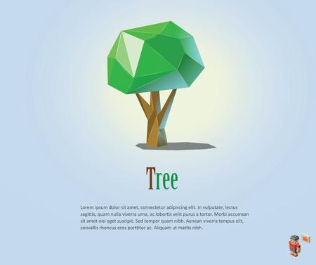 ecologic: PrintVector polygonal illustration of green tree, modern low poly ecologic