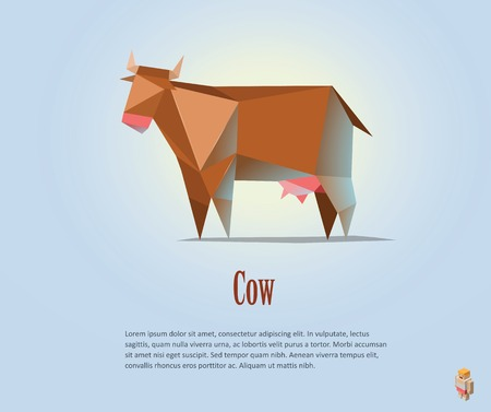 Vector polygonal illustration of red cow with milk, modern dairy products icon, low poly style 免版税图像 - 63226053