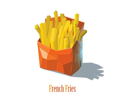 Vector french fries in a red box, isometric man character in a sweater and hat, polygonal illustration, white background, fast food icon Illustration