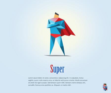 Vector polygonal illustration of super hero, origami style icon, modern cartoon super hero man character