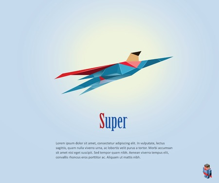 super man: Vector polygonal illustration of super hero, origami style icon, modern cartoon super hero man character
