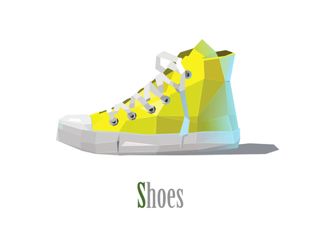 Vector polygonal illustration of yellow sneakers, low poly style icon