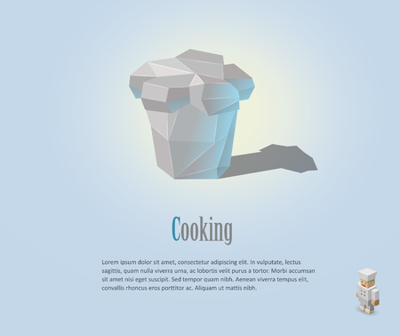 Vector illustration of chef hat, polygonal design, cooking cap, modern icon, isometric chef character Illustration