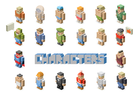 People occupations vector icons - set of Isometric man characters Çizim