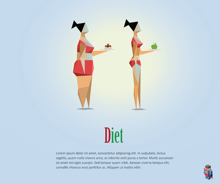 Vector polygonal illustration of diet, healthy lifestyle, daily routine. Choice of girls: being fat or slim, bad habits, low poly style Illustration