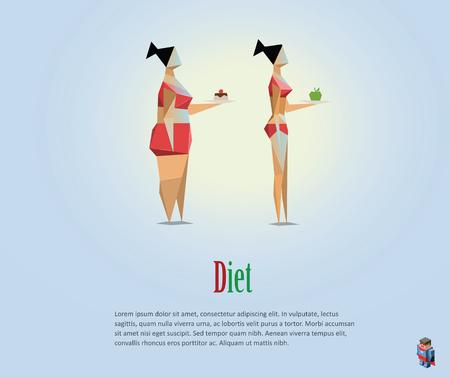 Vector veelhoekige illustratie van voeding, gezonde levensstijl, dagelijkse routine. Keuze van de meisjes: om dik of dun, slechte gewoonten, laag poly stijl