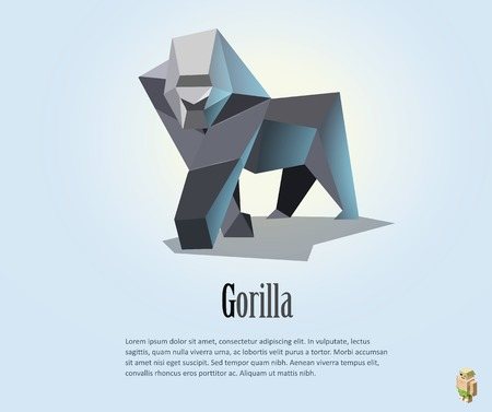 abstract gorilla: Vector polygonal illustration of gorilla, low poly style object, wild animal icon
