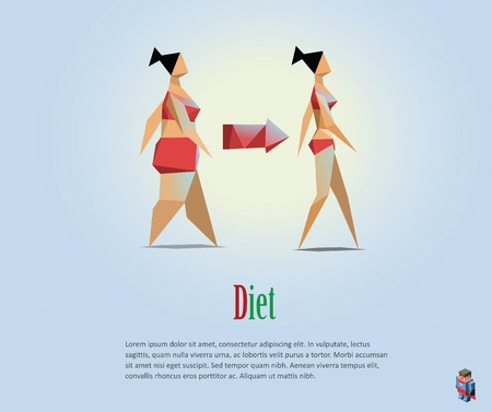 low fat diet: Vector polygonal illustration of diet, healthy lifestyle, daily routine. Choice of girls: being fat or slim, bad habits, low poly style Illustration
