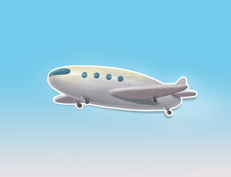 Illustration poster with white passenger airliner with shadow on blue background, airplane object