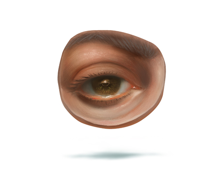 ophthalmologist: Illustration of head with eye fragment, drawing pupil, ophthalmologist subject, brown eye icon, white background