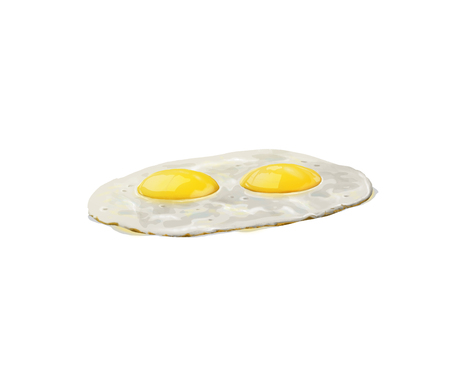 fryer: 3D illustration of fried eggs, classical breakfast isolated on white background