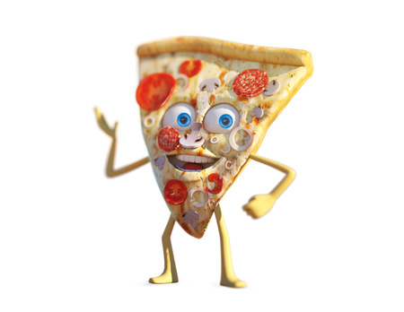 3D Illustration slice of pizza, funny cartoon character, isolated pizza object, white background Stock Photo