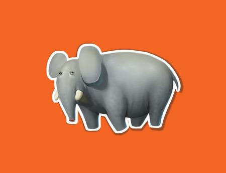 tusks: Illustration of big cute elephant, nature mammal, trunk wildlife safari big african elephant. Large strong zoo animal character, orange background Stock Photo