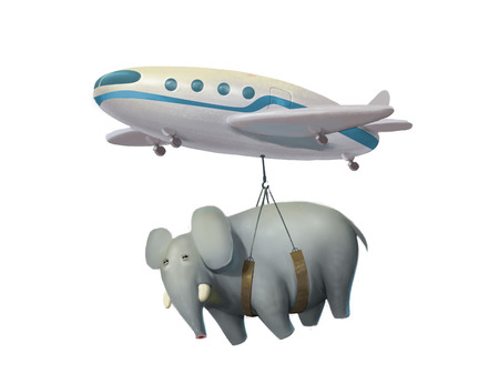 luggage carrier: illustration of aircraft transporting an elephant, airplane carrying a big elephant, world shipping, delivery service, isolated on white background