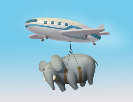transporting: illustration of aircraft transporting an elephant, airplane carrying a big elephant, world shipping, delivery service Stock Photo