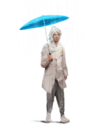 rain coat: Stylized illustration of a man in a rainy coat with the umbrella walking in the rain, Isolated, white background, fashion clothes
