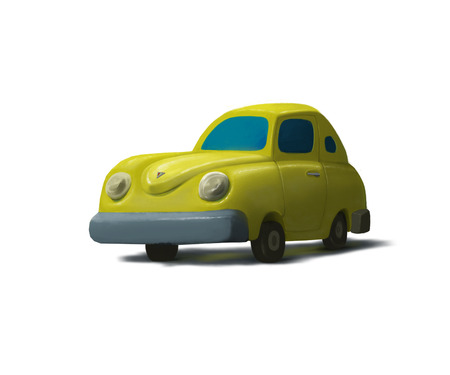 yellow car: Illustration of cartoon yellow car, isolated on white