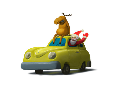 Illustration of yellow car with deer on the roof and Santa Claus inside , Christmas moose, Happy New year Stock Photo