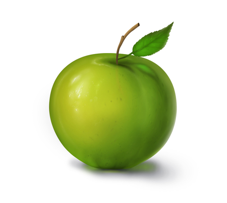 Illustration of Green Apple with leaf isolated, fruit icon Stock Photo