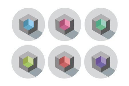 pallette: Set of vector isometric cubes with different color inside, blue, red, purple, lemon, green, pink, modern icon, abstract object