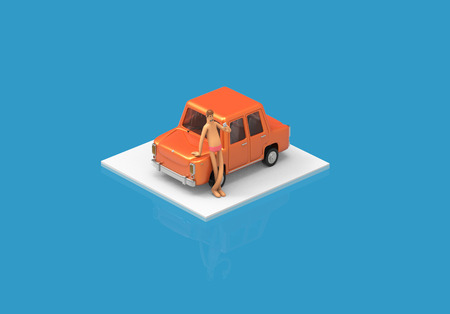 isometric car with man phone cartoon colorfull 3d rendering feeling good Stock Photo
