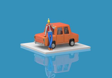 wanderlust: isometric car with man phone cartoon colorfull 3d rendering feeling good Stock Photo