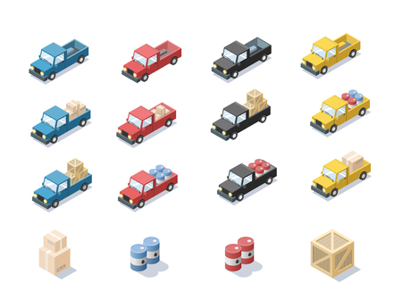 simplex: isometric set of wagon car with cargo, barrels,  trucks for cargo transportation, delivery car icon, 3D flat business illustration, carton boxes, cargo icon Illustration
