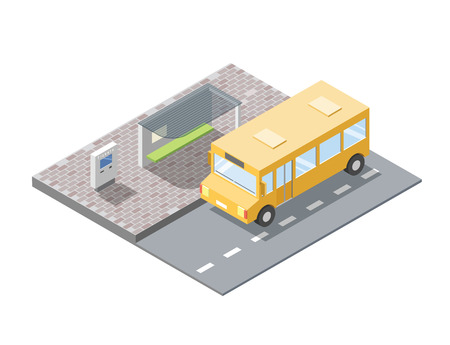 buss: isometric illustration of bus station with ticket sell terminal, city public transport road element, 3d flat design, school bus icon