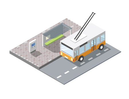 isometric illustration of bus station with ticket sell terminal, city public transport road element, 3d flat design , orange trolleybus
