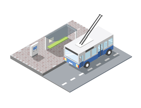 buss: isometric illustration of bus station with ticket sell terminal, city public transport road element, 3d flat design , blue trolleybus