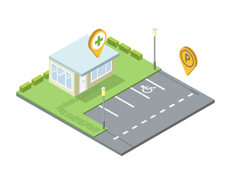 isometric set of city element, parking place geo tag pin icon, streetlights, invalid place sign, road, shop, pin icon, 3D flat design