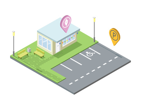 isometric ice cream shop with parking and place for rest, Parking pin geotag icon, isometric black car, invalid parking place sign, 3d flat design illustration. Set of city elements Vectores