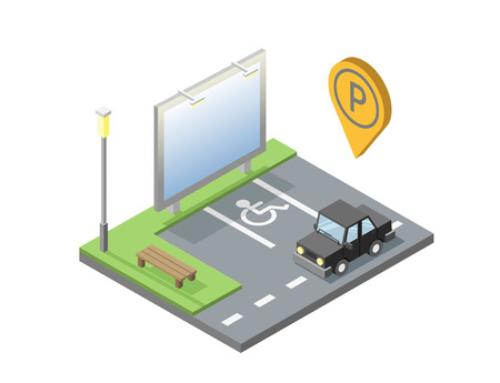 isometric illustration of car parking place with billboard, bench, street light, invalid place, parking geotag, pin.