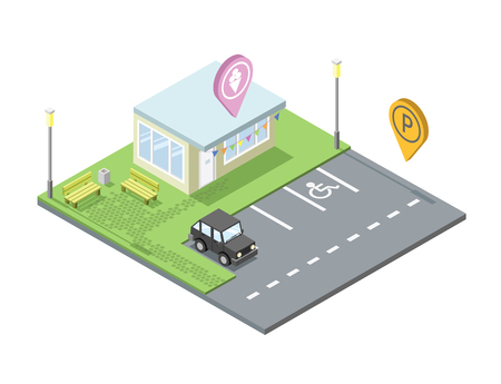 geotag: isometric ice cream shop with parking and place for rest, Parking pin geotag icon, isometric black car, invalid parking place sign, 3d flat design illustration. Set of city elements Illustration